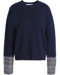 Vanessa Bruno Athé - Paneled Merino Wool-blend Sweater - Lyst