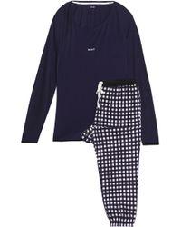 DKNY - Checked Fleece And Stretch-modal Jersey Pyjama Set - Lyst