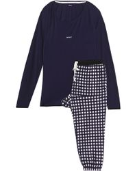 DKNY - Woman Printed Fleece And Stretch Modal-jersey Pajama Set Violet - Lyst