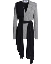 Chalayan - Draped Crepe And Houndstooth Cotton-blend Blazer - Lyst