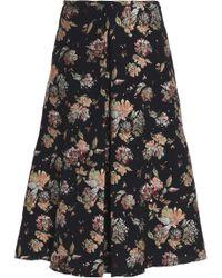 Rochas - Pleated Jacquard Skirt - Lyst