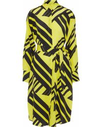 MSGM - Belted Printed Silk Crepe De Chine Tunic - Lyst