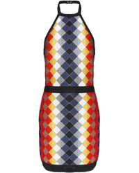 Balmain - Printed Knitted Halterneck Mini Dress - Lyst