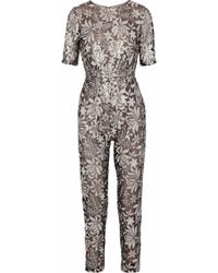 Mikael Aghal - Sequined Tulle Jumpsuit - Lyst