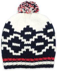 Maje - Pompom-embellished Wool-blend Beanie - Lyst