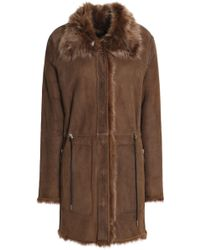 Meteo by Yves Salomon - Woman Reversible Goat Hair Jacket Dark Brown - Lyst