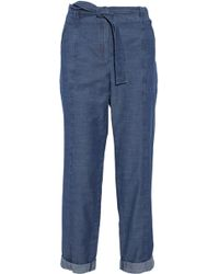 A.P.C. - Belted Cotton-chambray Straight-leg Pants - Lyst