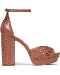 Rachel Zoe - Laser-cut Embroidered Leather Platform Sandals Light Brown - Lyst