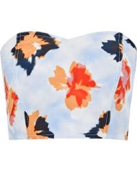 Opening Ceremony - Reversible Strapless Floral-print Silk Bustier Top Sky Blue - Lyst