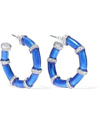 Kenneth Jay Lane - Silver-tone, Crystal And Enamel Hoop Earrings Bright Blue - Lyst