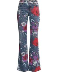 Roberto Cavalli - Floral-print Mid-rise Flared Jeans - Lyst