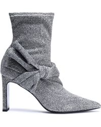 Sigerson Morrison - Helin Knotted Metallic Stretch-knit Sock Boots - Lyst