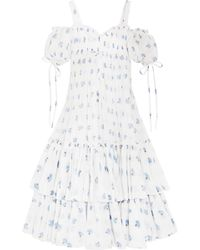 Alexander McQueen - Cold-shoulder Tiered Floral-print Cotton-voile Maxi Dress - Lyst