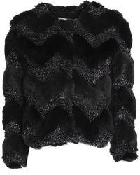 Ainea - Lamé-paneled Faux Fur Jacket - Lyst