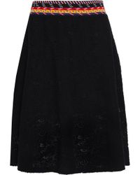Love Moschino - Woman Embroidered Crochet-knit Skirt Black - Lyst