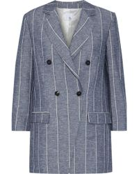 Iris & Ink - Woman Kinsley Double-breasted Pinstriped Cotton And Flax-blend Blazer Light Blue - Lyst