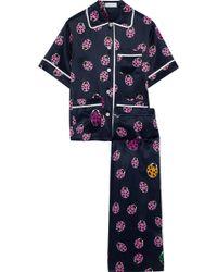 Olivia Von Halle - Lila Wendy Printed Silk-satin Pajama Set - Lyst