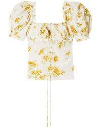 Brock Collection - Woman Trixie Floral-print Voile Top Ecru - Lyst