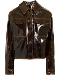 Beaufille - Cracked Glossed Faux Leather Jacket Dark Brown - Lyst