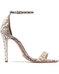 c3ff61d5b299d Schutz - Woman Cadey Lee Snake-effect Leather Sandals Ecru - Lyst