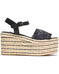 Paloma Barceló - Fringe-trimmed Woven Leather Platform Espadrille Sandals - Lyst
