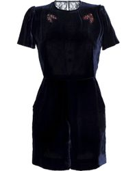 cfa830eac7a6 Sandro - Woman Cutout Embellished Velvet And Lace Playsuit Navy - Lyst