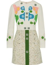 Peter Pilotto - Appliquéd Crepe And Embroidered Bouclé Mini Dress - Lyst