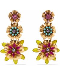 Elizabeth Cole - Woman 24-karat Gold-plated, Swarovski Crystal, Faux Pearl And Stone Earrings Multicolour - Lyst