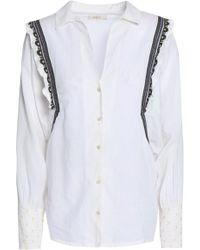Ba&sh Embroidered Cotton-poplin Shirt Off-white
