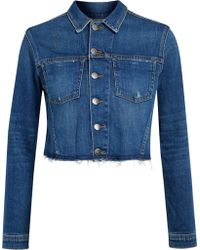 L'Agence - Zuma Cropped Studded Denim Jacket Mid Denim - Lyst
