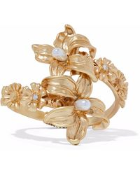 Kenneth Jay Lane - Gold-tone, Faux Pearl And Crystal Cuff - Lyst
