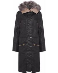 J Brand - Faux Fur-trimmed Cotton-blend Parka - Lyst