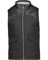 Monrow - Faux Leather-trimmed Quilted Faille Vest - Lyst
