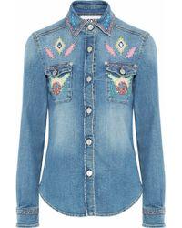 Moschino - Embellished Faded Denim Shirt - Lyst