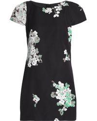 MILLY - Floral-print Cotton-blend Faille Mini Dress - Lyst