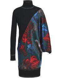Vionnet - Woman Printed Satin-paneled Wool And Silk-blend Turtleneck Top Black - Lyst