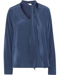 Sandro - Woman Pompa Cutout Silk Crepe De Chine Blouse Cobalt Blue - Lyst