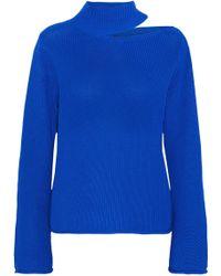 RTA Langley Cutout Ribbed Cotton Sweater Bright Blue