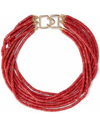 Kenneth Jay Lane - Woman Gold-tone Beaded Choker Red - Lyst