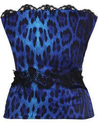 Roberto Cavalli - Lace-trimmed Leopard-print Silk-blend Corset Bright Blue - Lyst