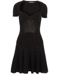 Alexander McQueen - Fluted Metallic Ribbed Wool-blend Mini Dress - Lyst