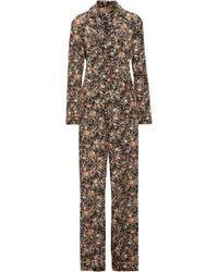 Adam Lippes - Woman Metallic Floral-print Silk-twill Jumpsuit Multicolour - Lyst