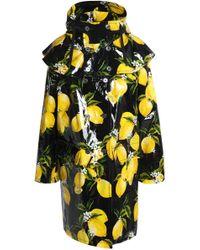 Dolce & Gabbana - Ruffled Printed Coated-cotton Hooded Raincoat - Lyst