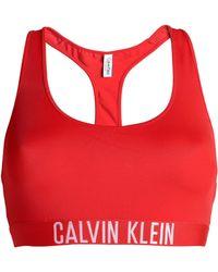 Calvin Klein - Jacquard-trimmed Bikini Top Red - Lyst