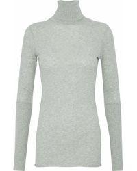 Enza Costa - Mélange Cotton And Cashmere-blend Turtleneck Sweater - Lyst