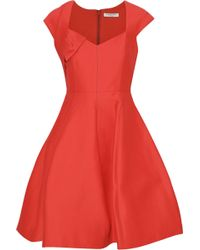 Halston - Woman Cotton And Silk-blend Mini Dress Tomato Red - Lyst