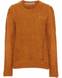 Raquel Allegra - Fuzzy Punk Distressed Knitted Sweater - Lyst