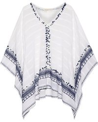MICHAEL Michael Kors - Embellished Cotton-gauze Poncho - Lyst