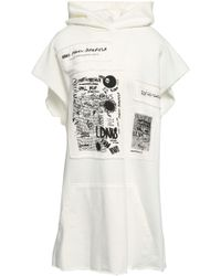 MM6 by Maison Martin Margiela - Woman Frayed Embroidered French Cotton-terry Hooded Sweatshirt Ivory - Lyst