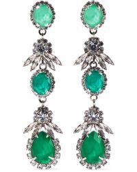 Elizabeth Cole - Woman Silver-tone Crystal Earrings Green - Lyst